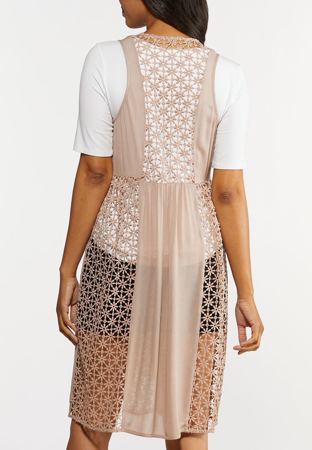 Plus Size Gauzy Crochet Vest (Item #44325123)