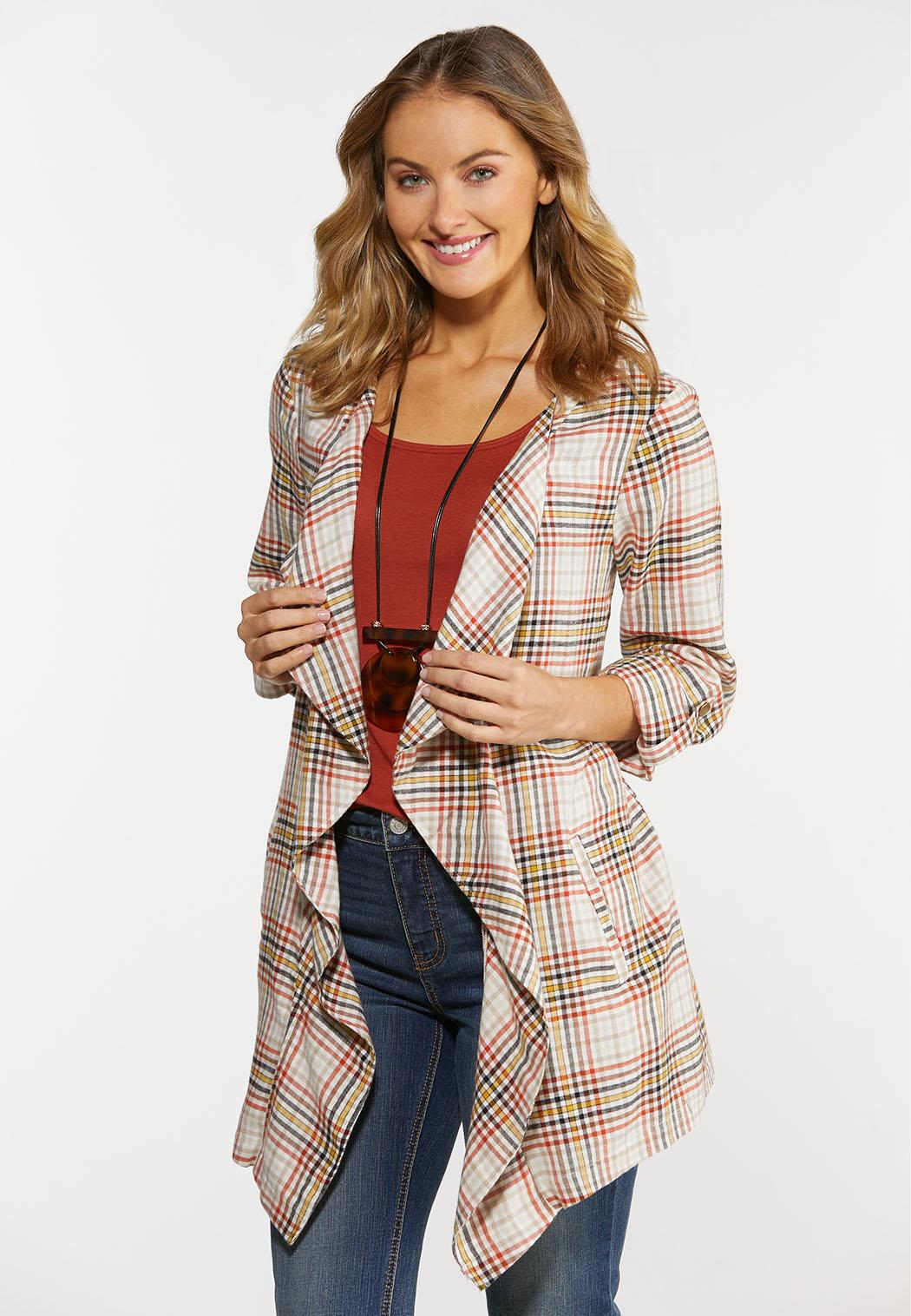 Plus Size Draped Sunset Plaid Jacket (Item #44325709)