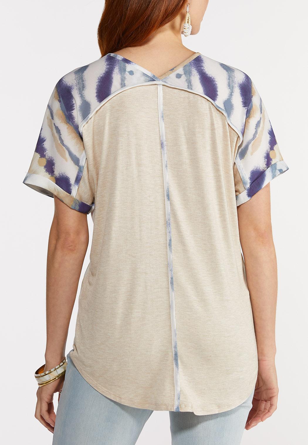 Plus Size Silky Tie Dye Top (Item #44325768)