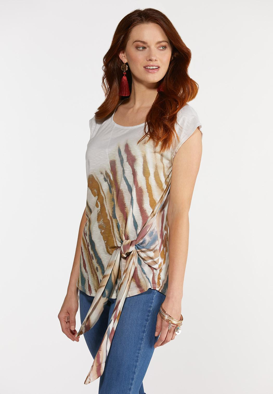 Plus Size Knotted Brushed Stripe Top (Item #44325804)
