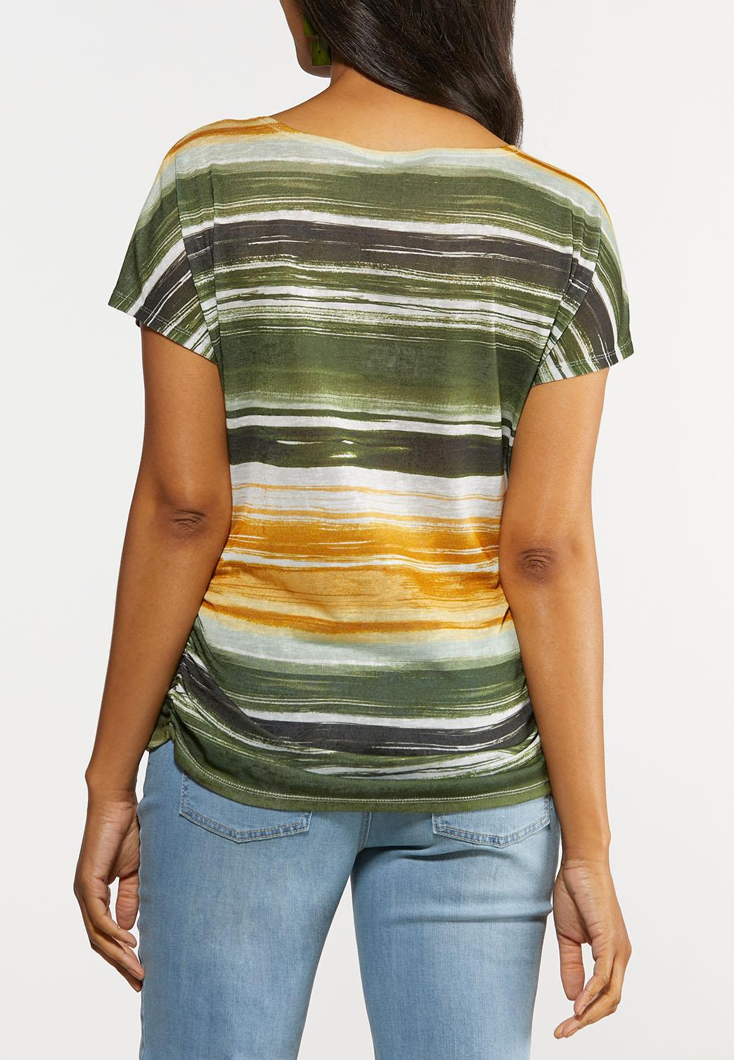 Plus Size A Twist Of Lime Striped Top (Item #44325822)