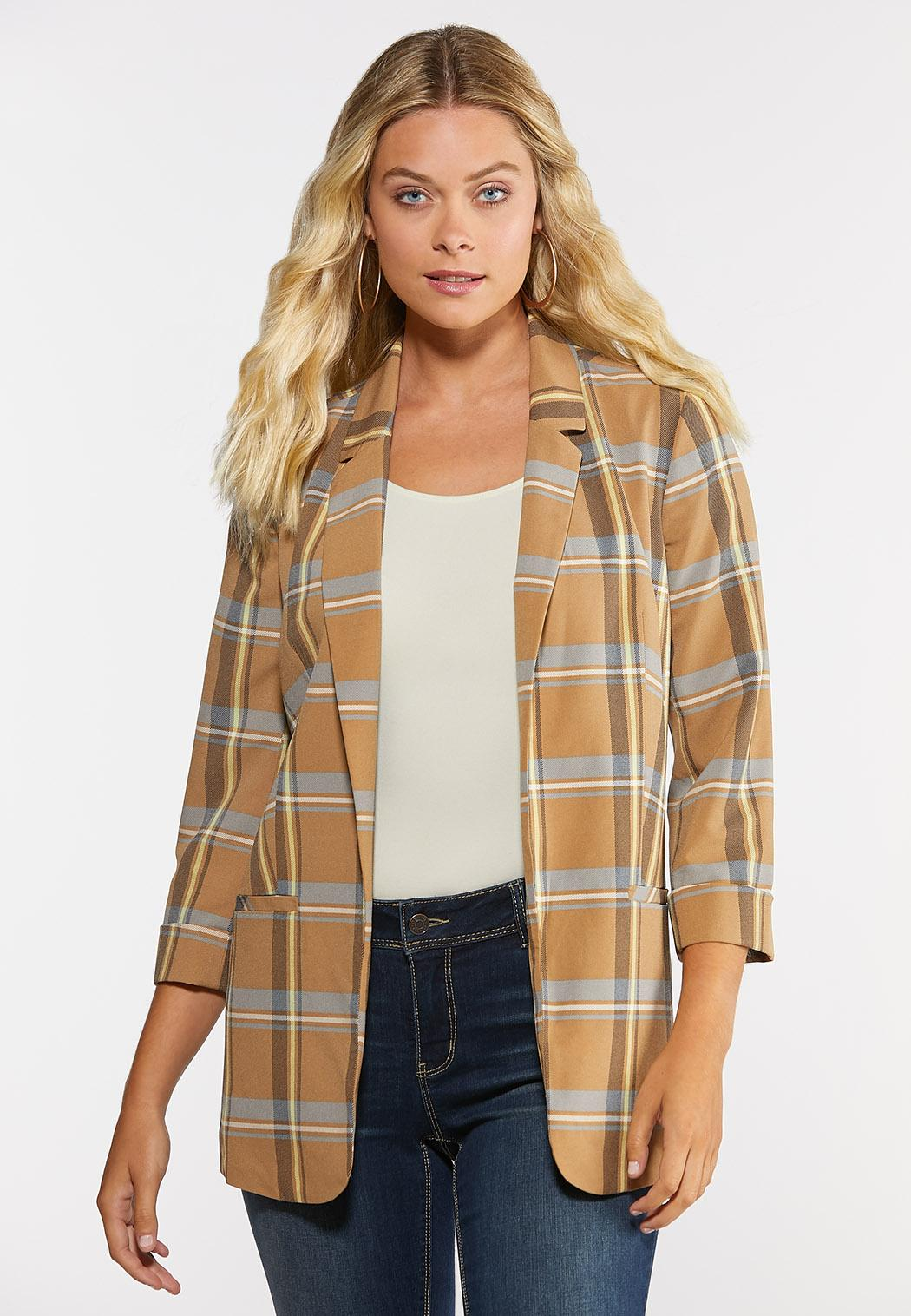 Plus Size Plaid Boyfriend Blazer (Item #44326437)