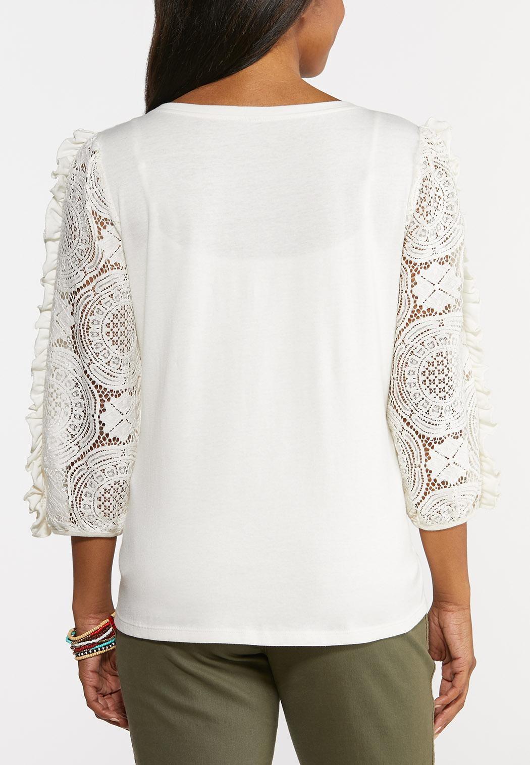 Plus Size Lacy Ruffled Sleeve Top (Item #44327196)
