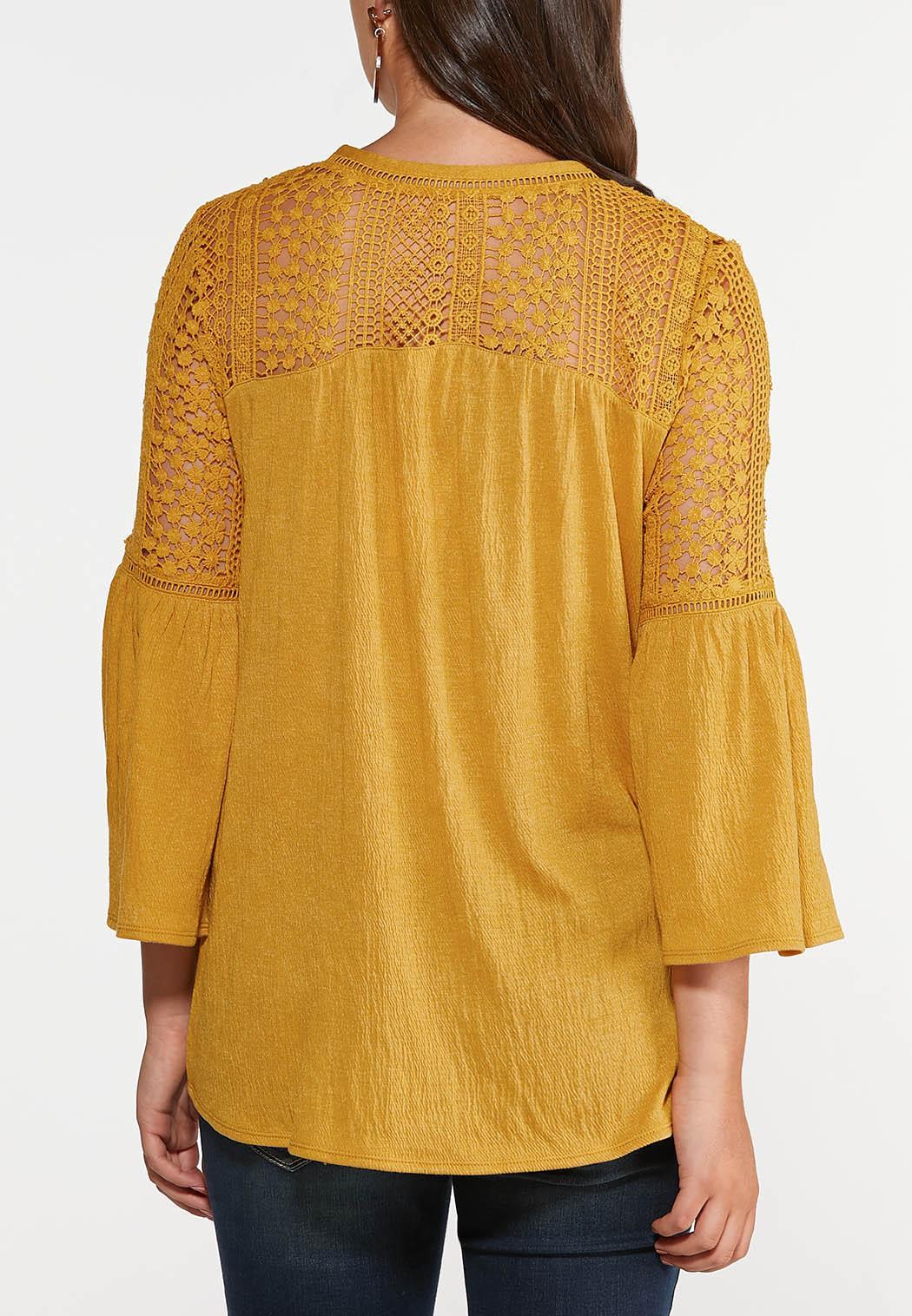 Plus Size Crochet Bell Sleeve Top (Item #44327215)