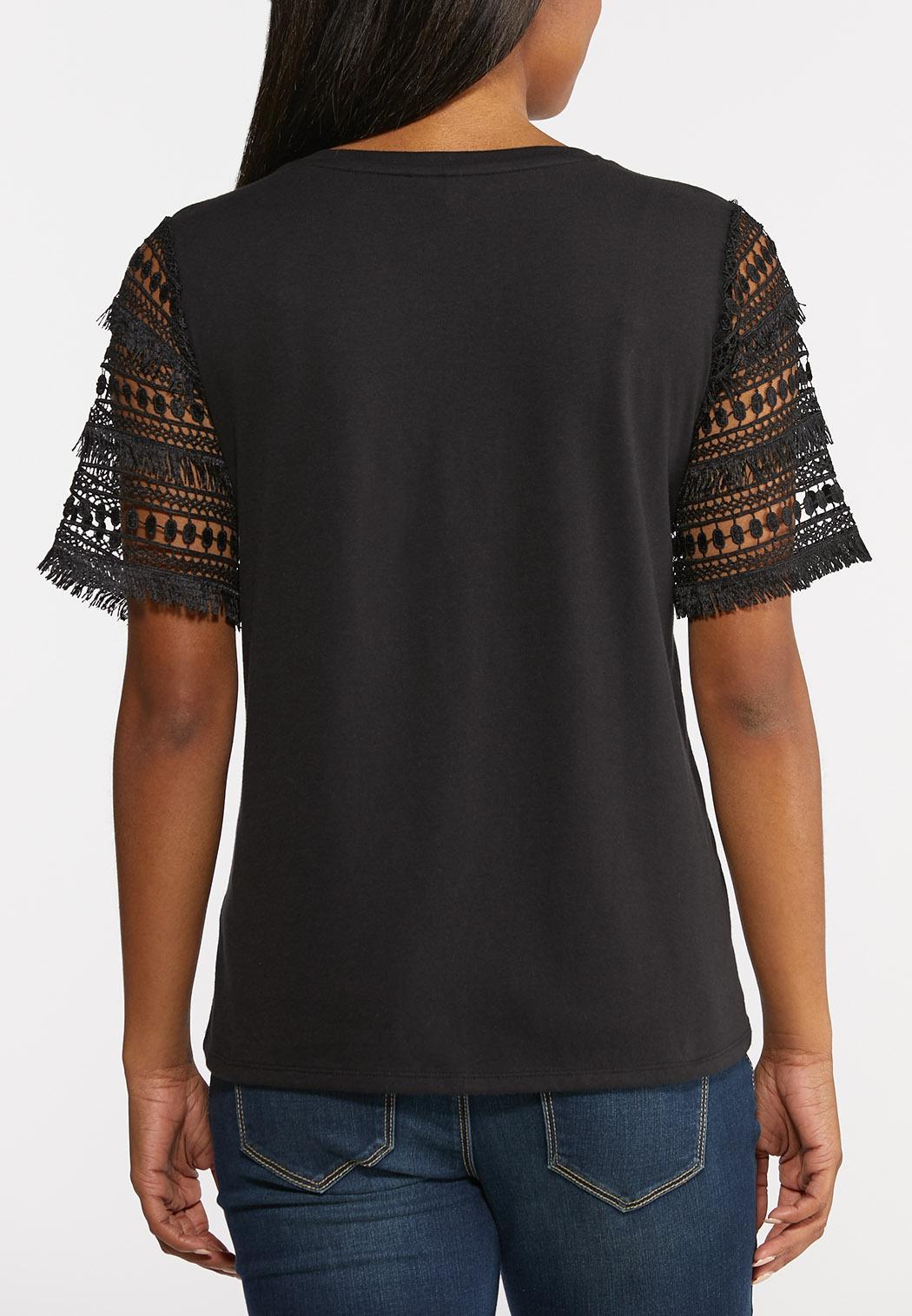 Plus Size Crochet Sleeve Tee (Item #44327278)