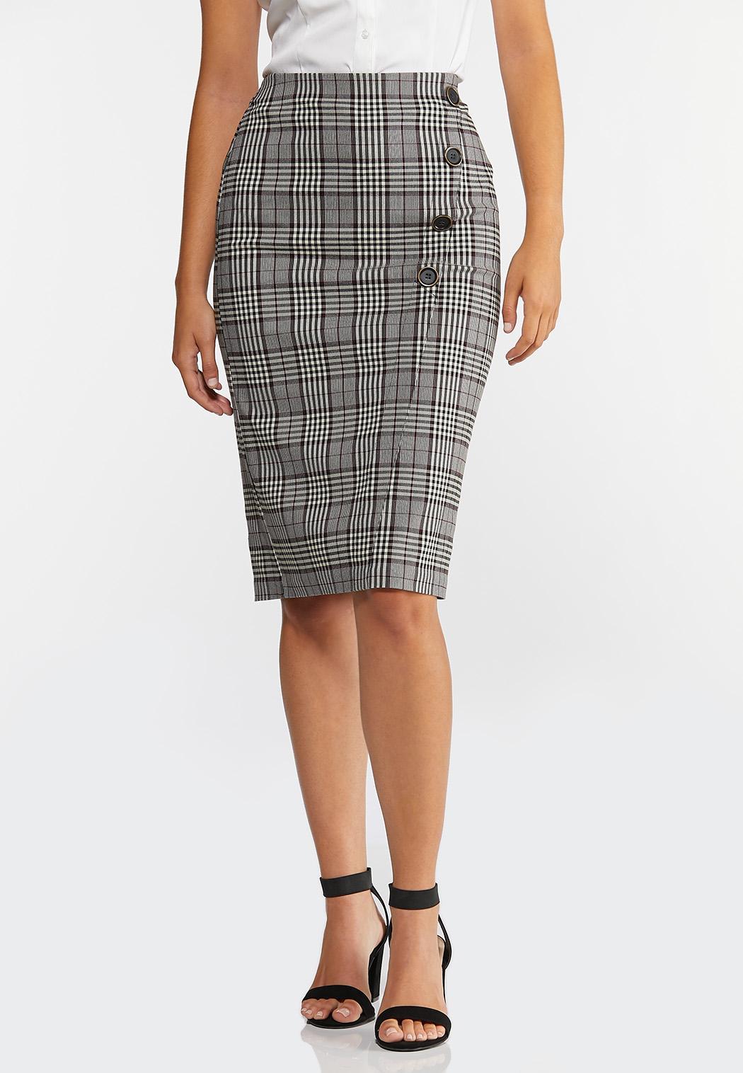 Plus Size Plaid Pencil Skirt (Item #44327779)
