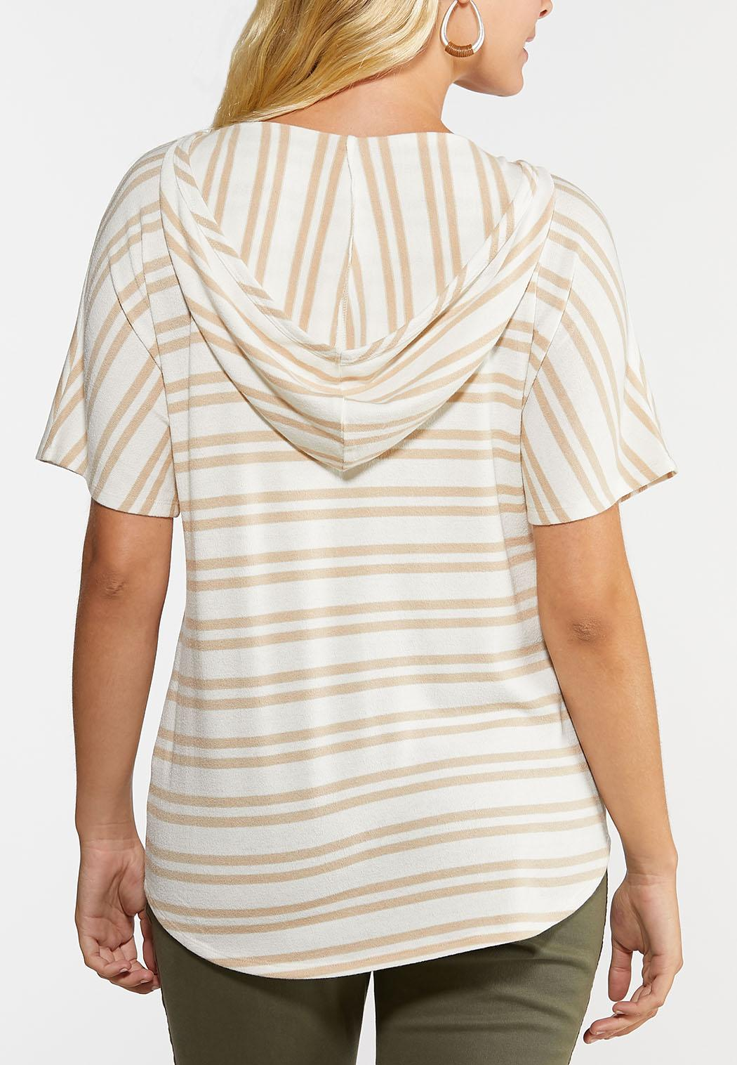 Plus Size Stripe Tie Front Hooded Top (Item #44328564)
