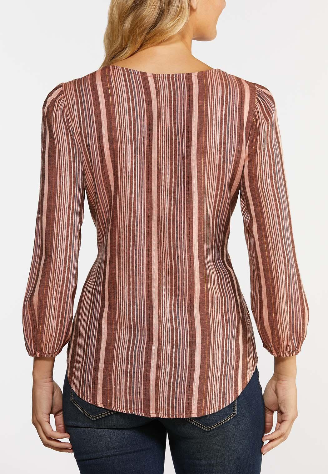 Plus Size Belted Stripe Top (Item #44328732)