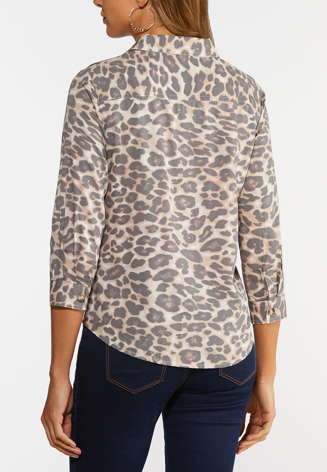 Plus Size Leopard Button Down Shirt (Item #44328767)