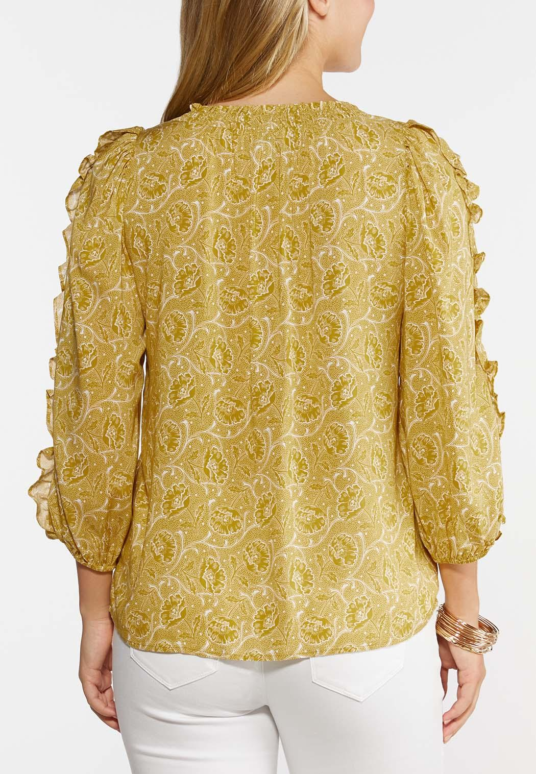 Plus Size Floral Ruffled Sleeve Top (Item #44328815)