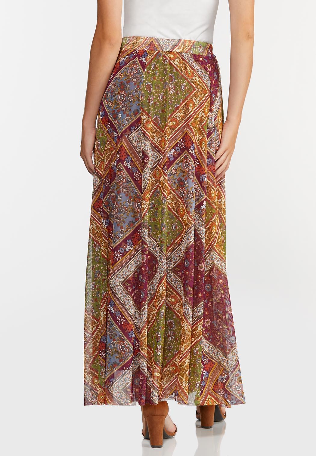 Plus Size Mesh Patchwork Maxi Skirt (Item #44328832)