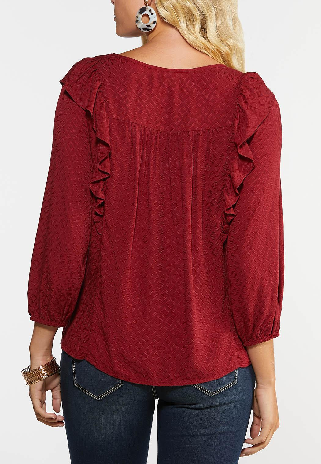 Plus Size Red Ruffled Top (Item #44329045)