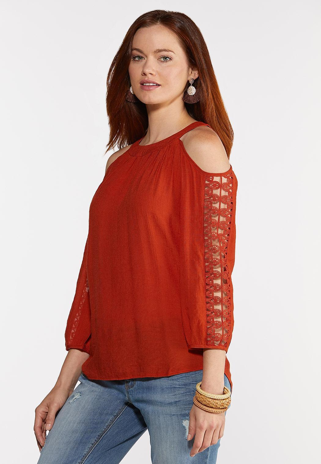 Crochet Cold Shoulder Sleeve Top (Item #44329052)