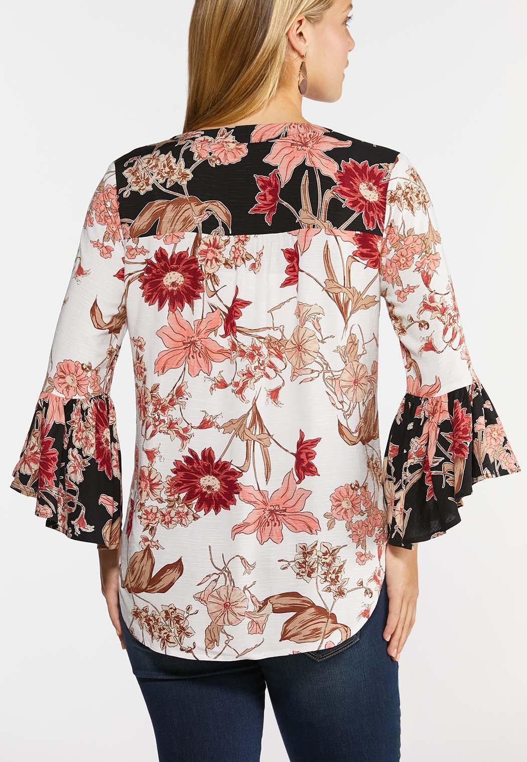 Plus Size Pink Sketch Floral Poet Top (Item #44329236)