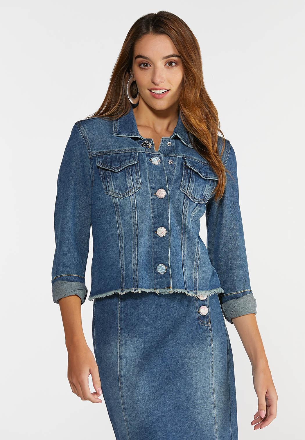 Plus Size Boucle Button Denim Jacket (Item #44330089)