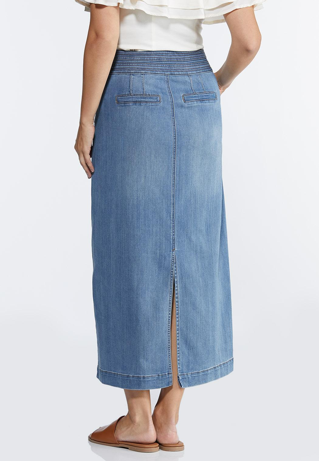 Plus Size Double Button Denim Maxi skirt (Item #44330181)