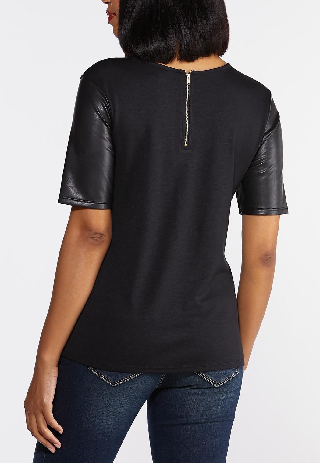 Faux Leather Sleeve Tee (Item #44330373)