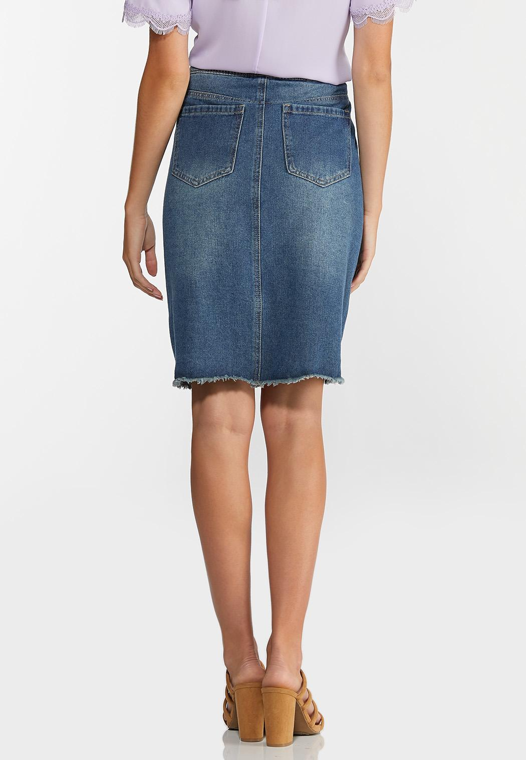 Boucle Button Denim Skirt (Item #44330686)