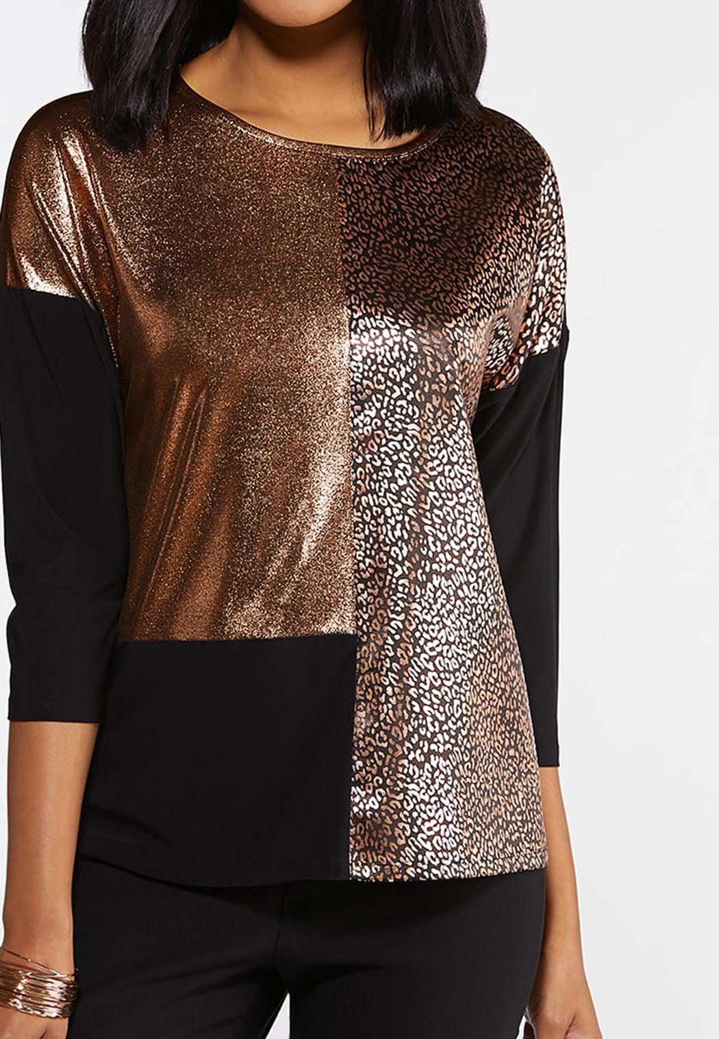 Plus Size Metallic Leopard Colorblock Top (Item #44331029)