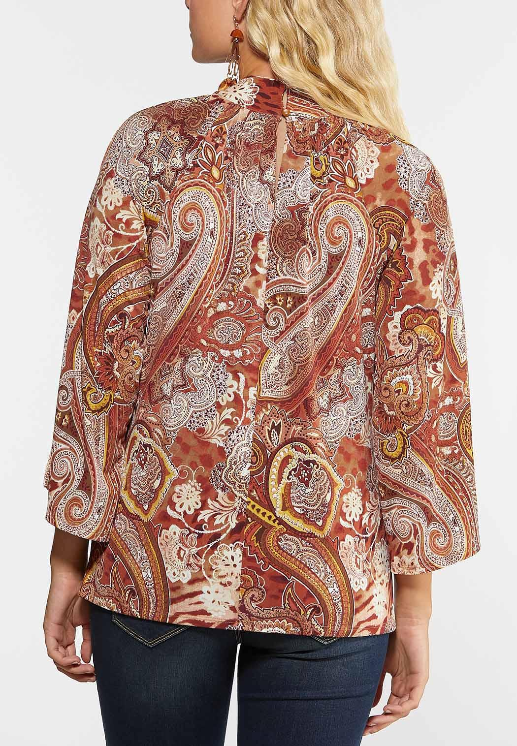 Plus Size Paisley Mock Neck Top (Item #44331048)