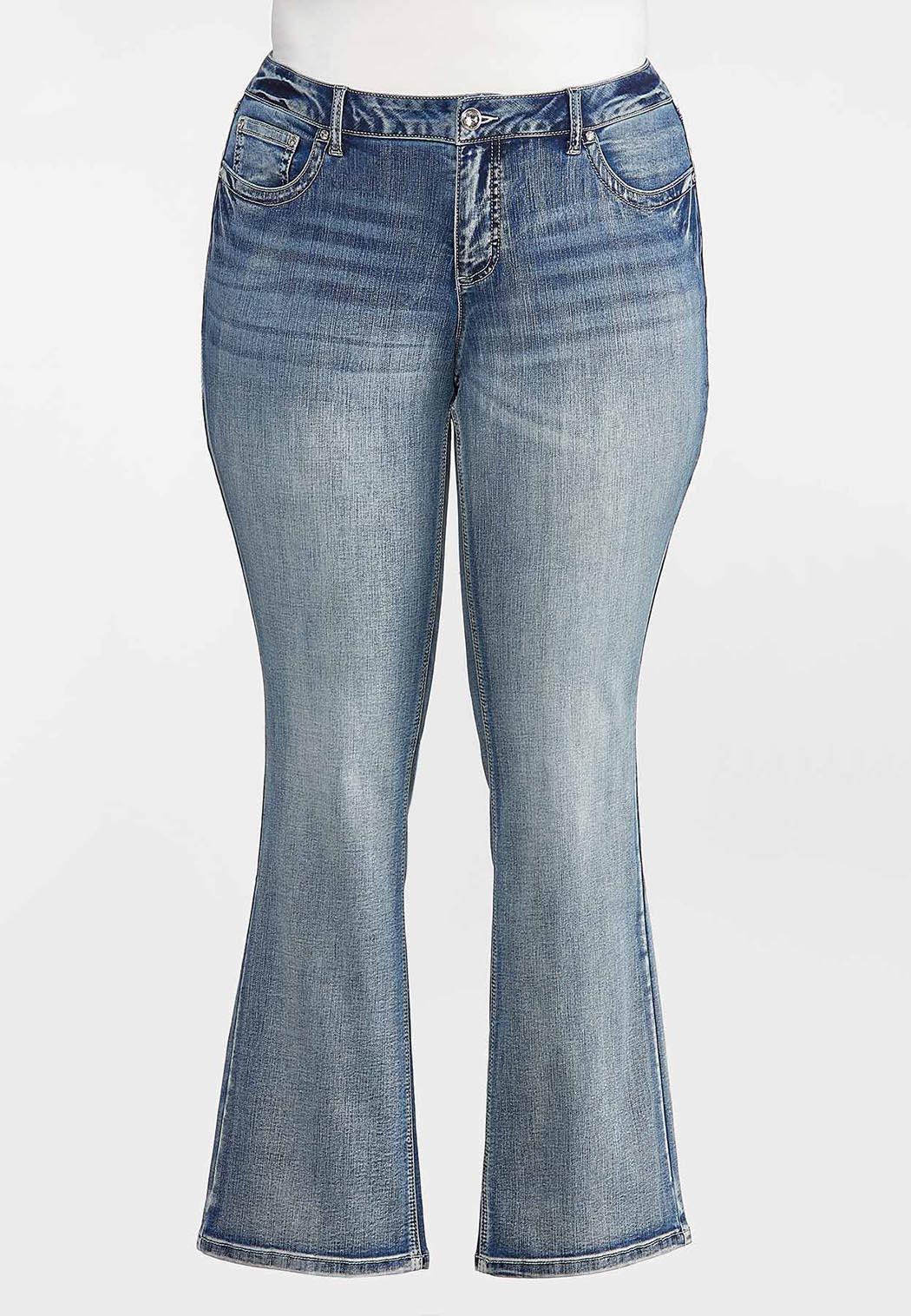 Plus Size Fleur Di Lis Pocket Jeans (Item #44331915)