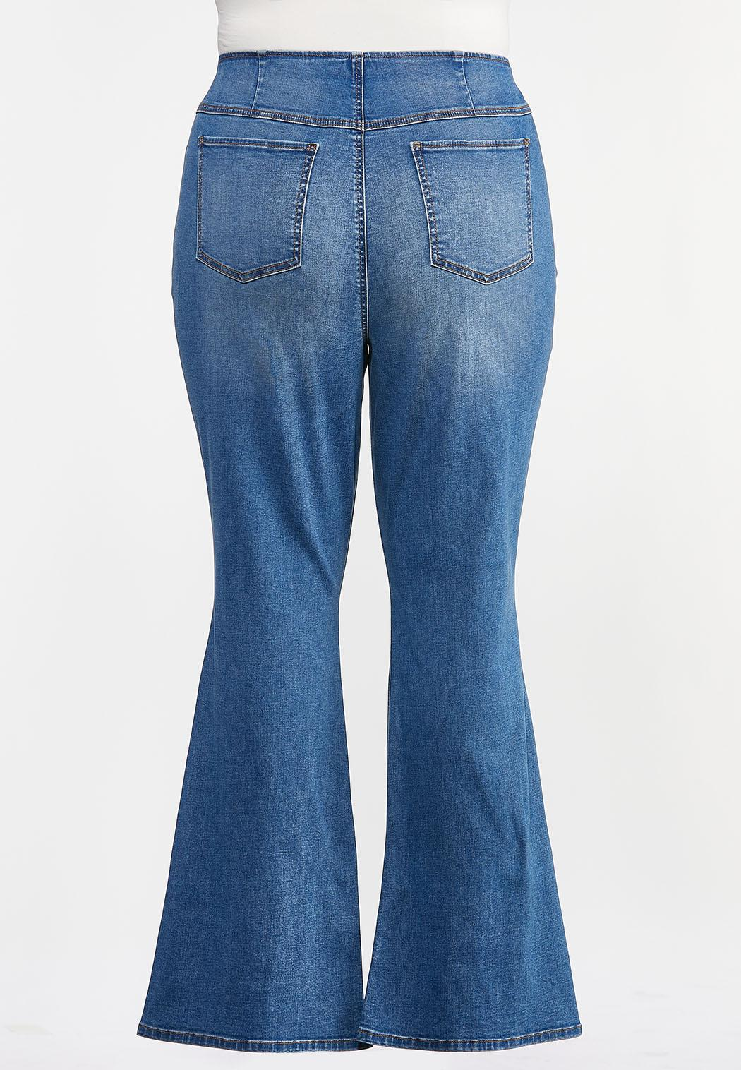 Plus Size Pull-On Flare Jeans (Item #44331951)