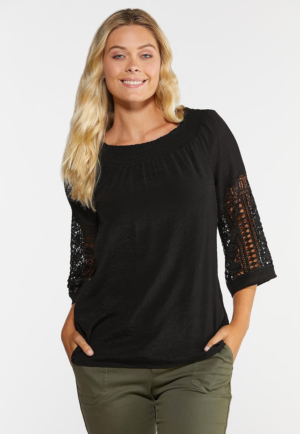 Plus Size Convertible Crochet Sleeve Top (Item #44333399)