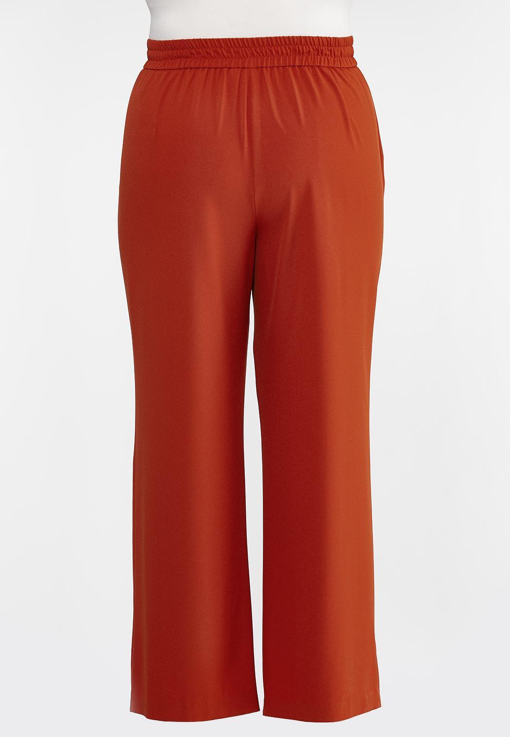Plus Size Solid Grommet Waist Pants (Item #44333400)
