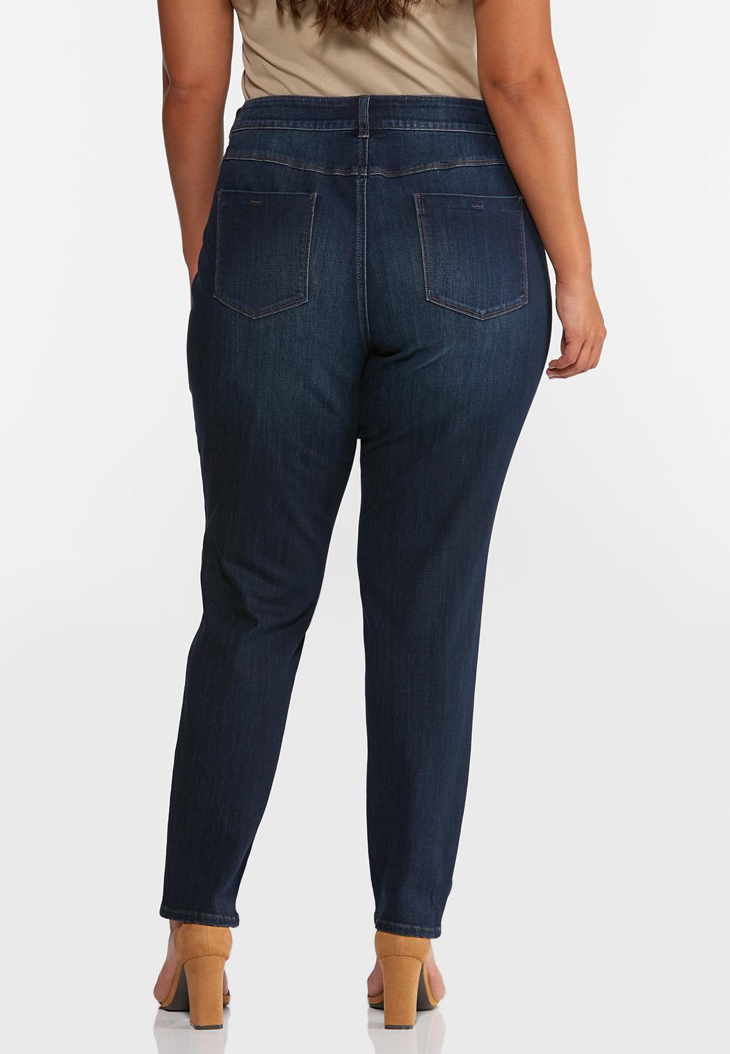 Plus Size Dark Wash Skinny Jeans (Item #44333704)