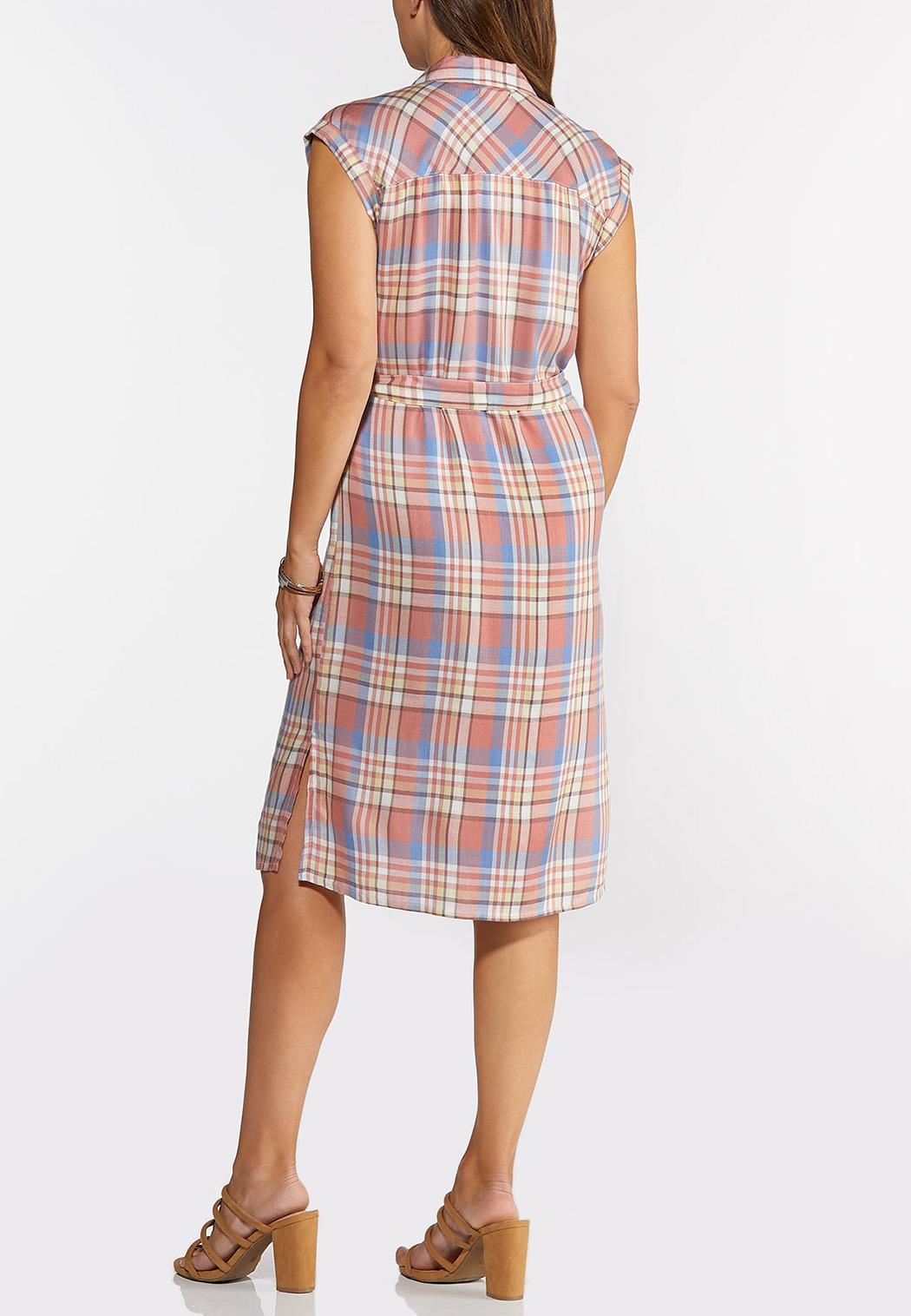 Plaid Tie Waist Shirt Dress (Item #44334075)