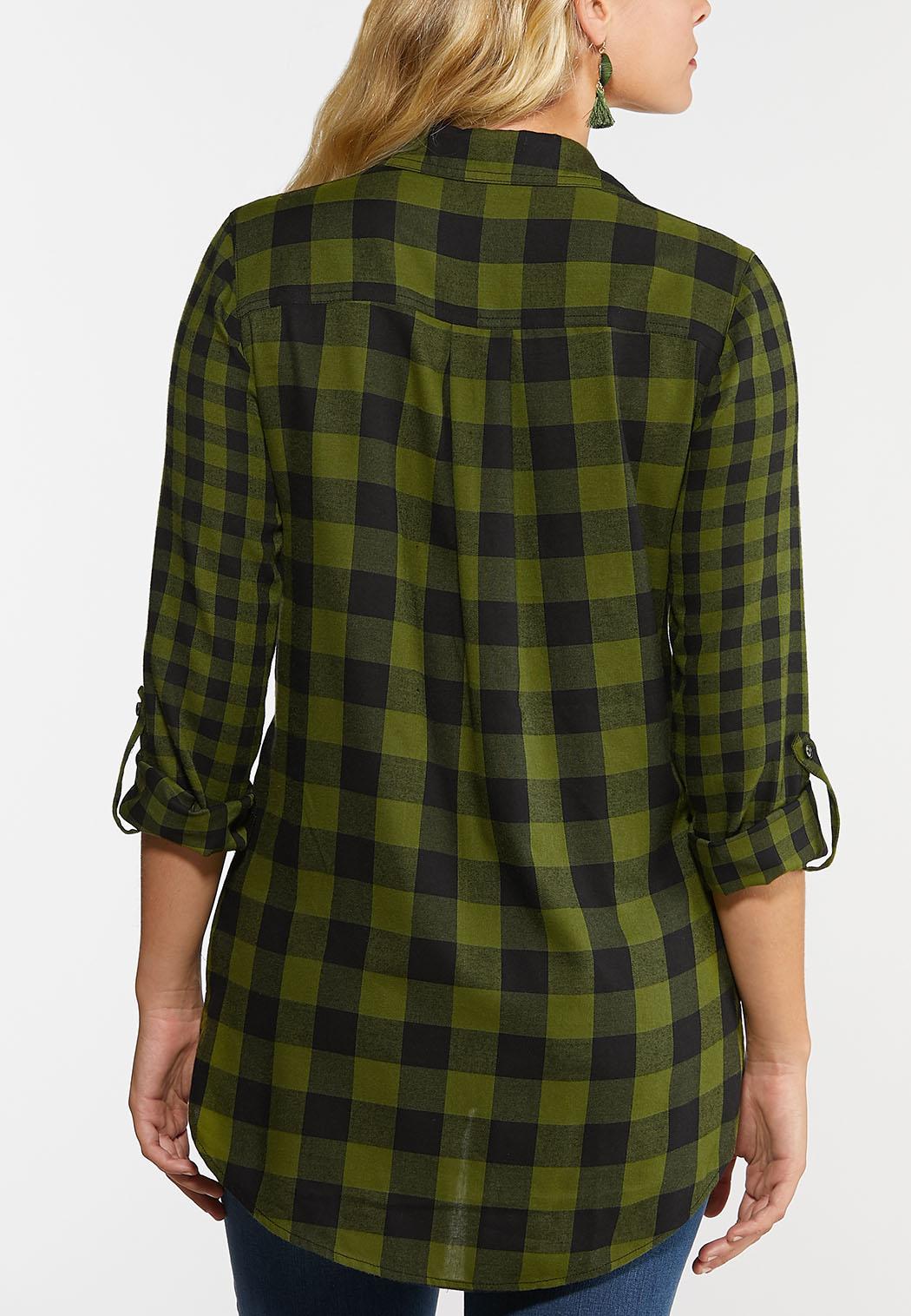 Plus Size Green Plaid Shirt (Item #44334287)