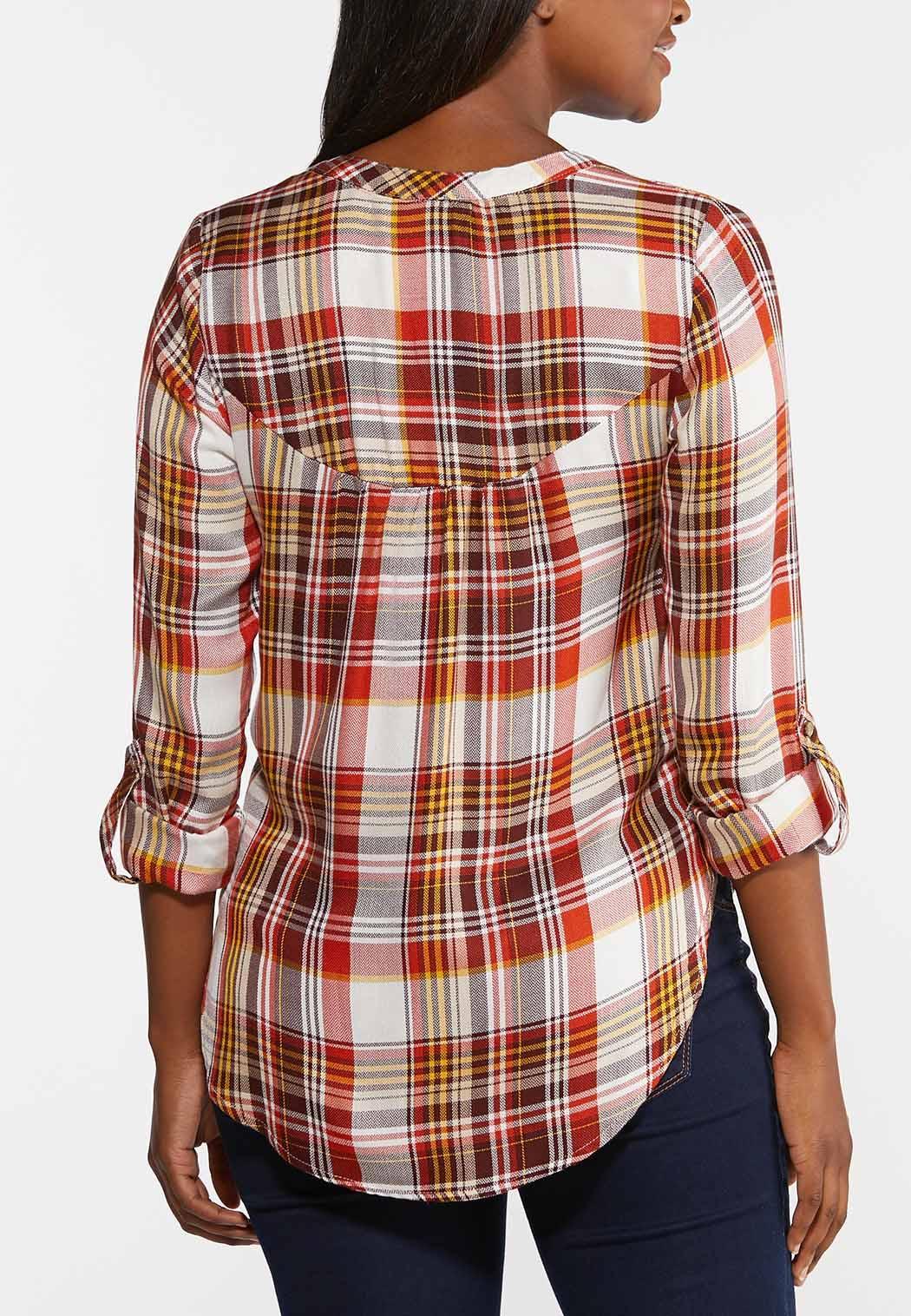 Plus Size Orange Plaid Shirt (Item #44334359)