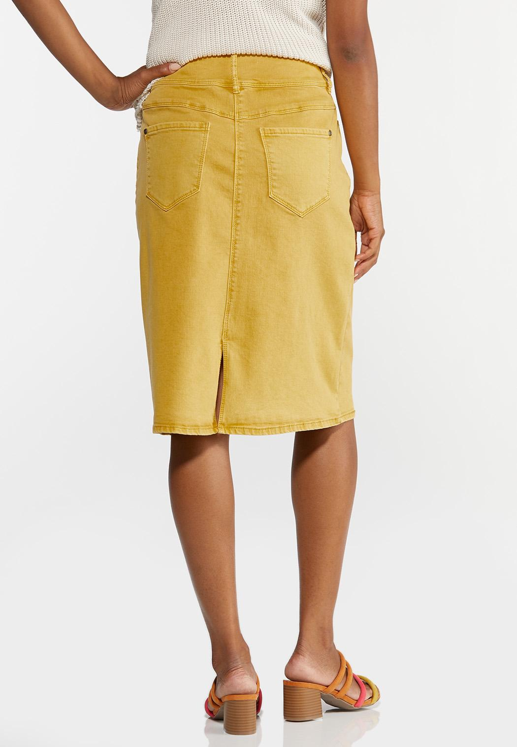 Plus Size Gold Denim Skirt   (Item #44334622)