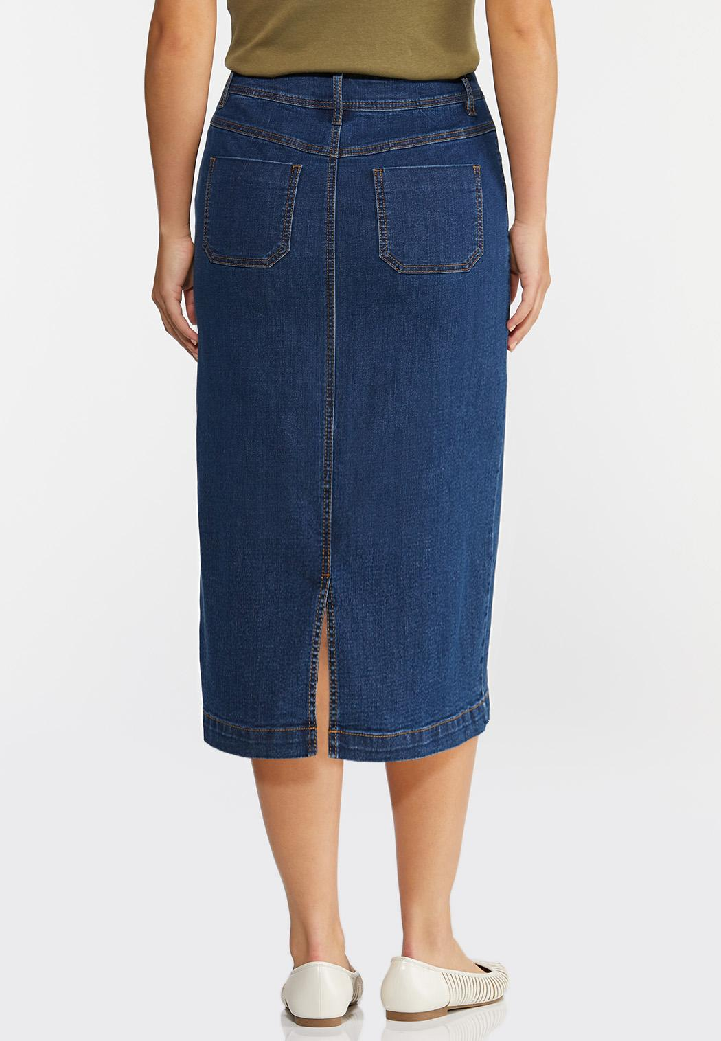 Plus Size Button Pocket Denim Skirt (Item #44334637)