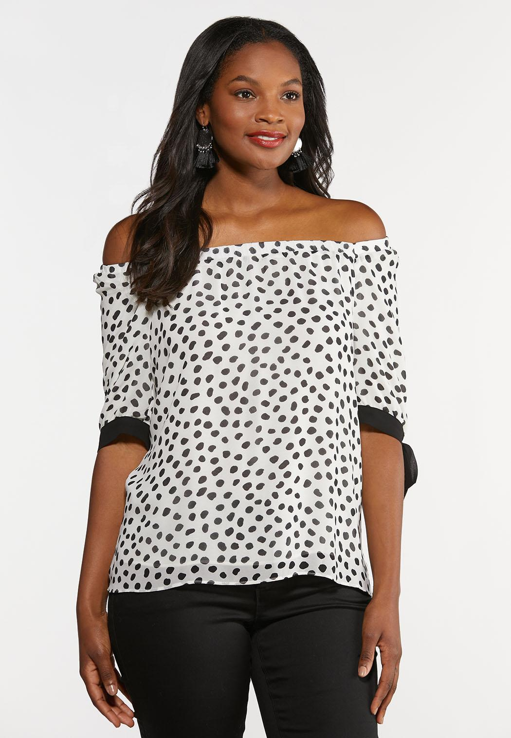 Plus Size Spotted Tie Sleeve Top (Item #44335252)