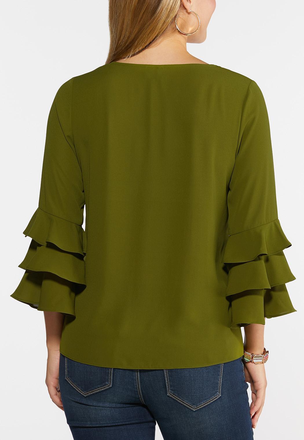Plus Size Triple Ruffled Sleeve Top (Item #44335284)