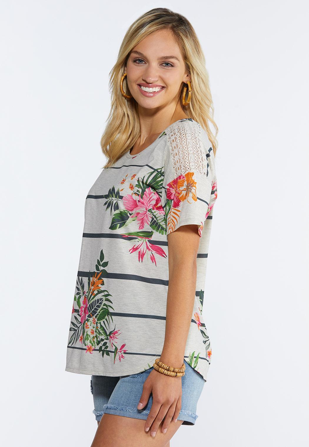 Tropical Lace Shoulder Top (Item #44335358)
