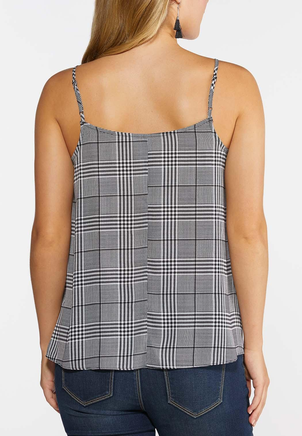 Plus Size Houndstooth Lace Trim Tank (Item #44335891)