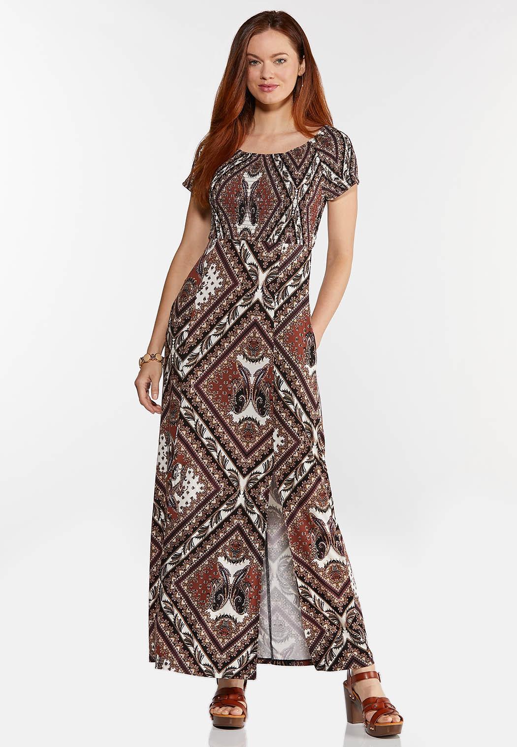 Petite Printed Off Shoulder Maxi Dress (Item #44336247)