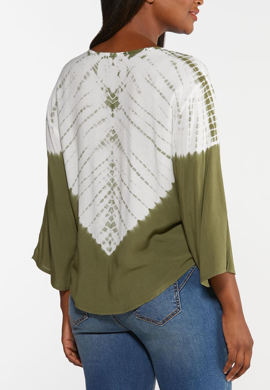 Plus Size Dye Tie Front Top (Item #44336866)