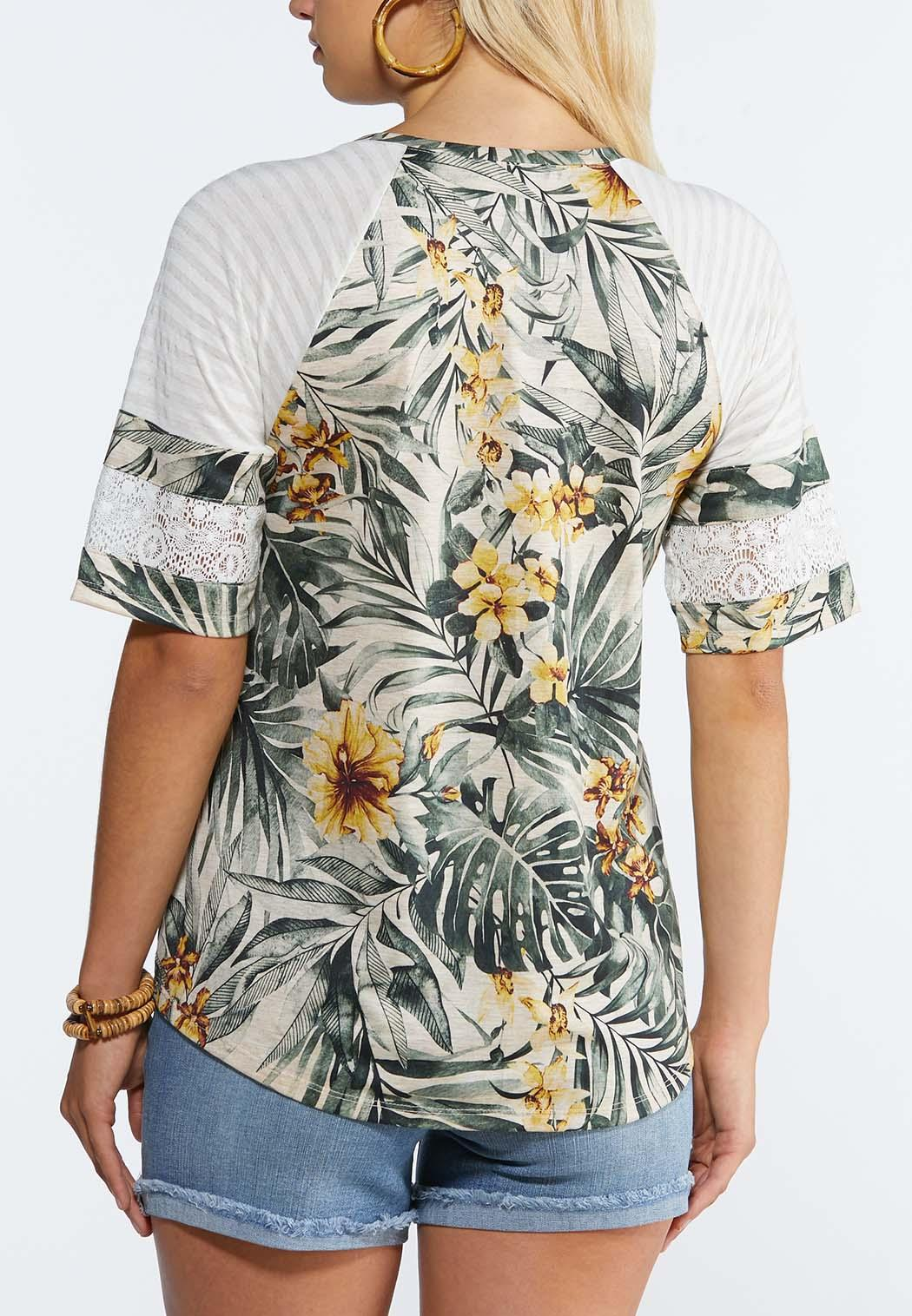 Plus Size Tropical Lace Sleeve Top (Item #44337360)
