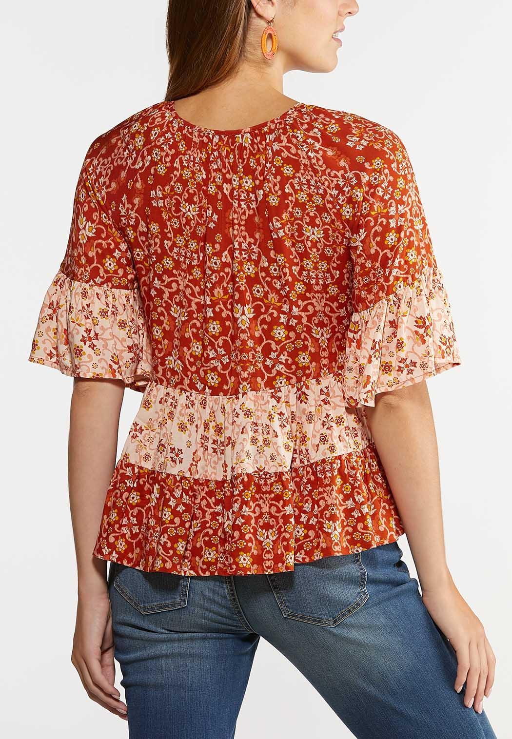 Plus Size Orange Ruffled Floral Top (Item #44342083)