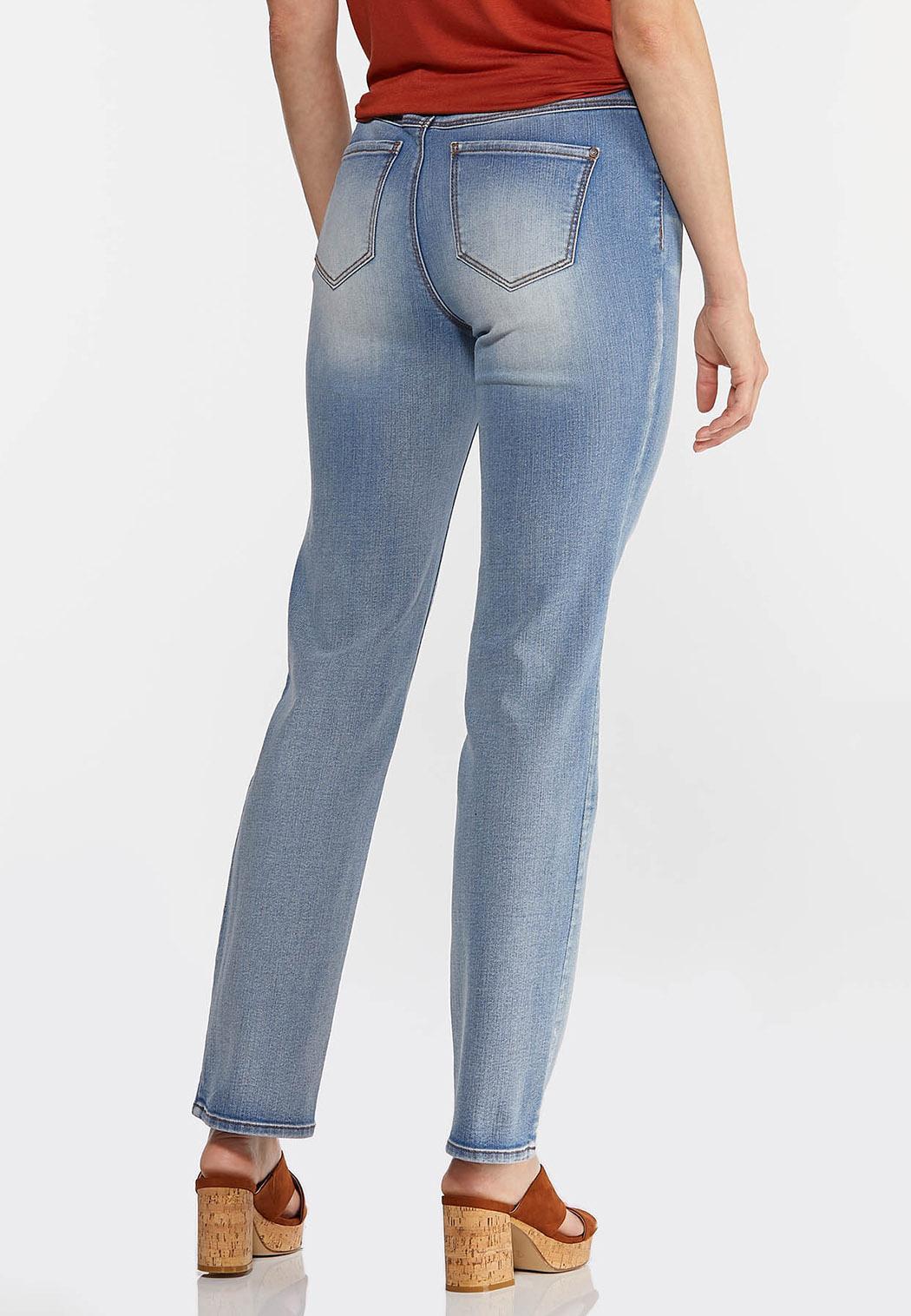 Petite Faded High-Rise Straight Leg Jeans (Item #44342191)