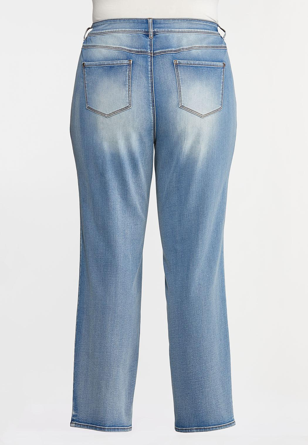 Plus Petite Faded High-Rise Straight Leg Jeans (Item #44342266)