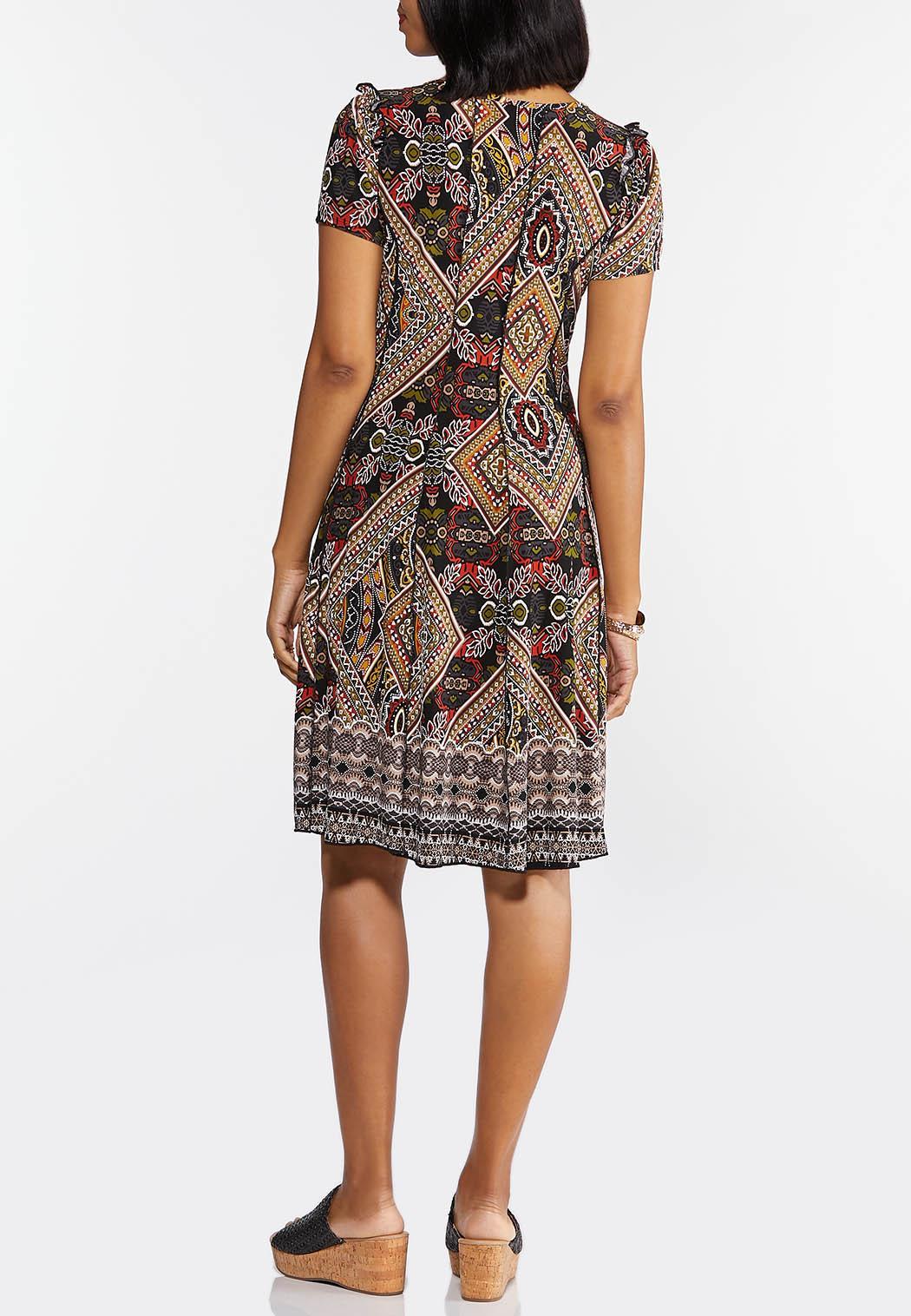 Plus Size Tribal Seamed Textured Dress (Item #44343129)