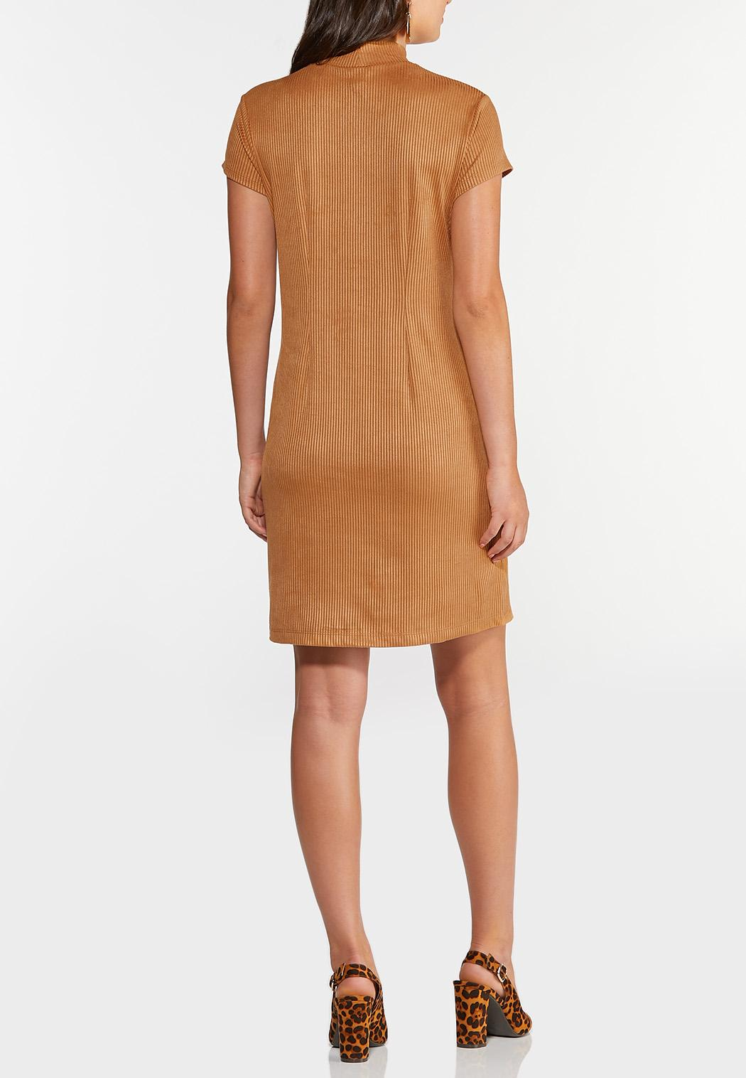 Plus Size Ribbed Faux Suede Dress (Item #44343432)