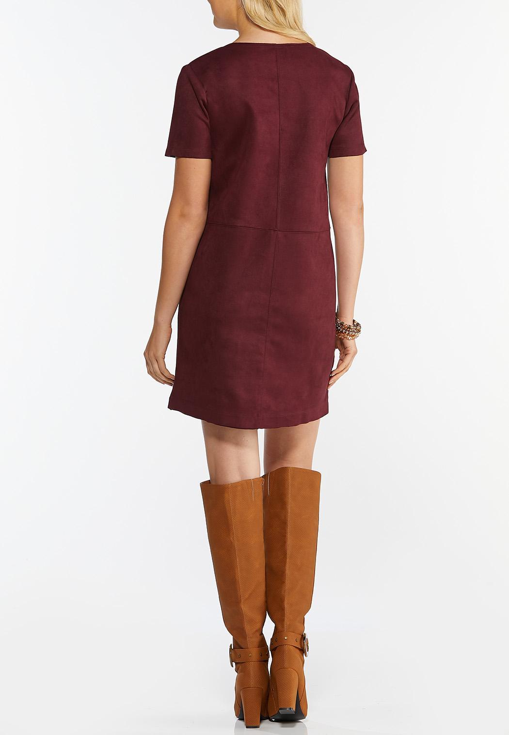 Faux Suede Shift Dress (Item #44343446)