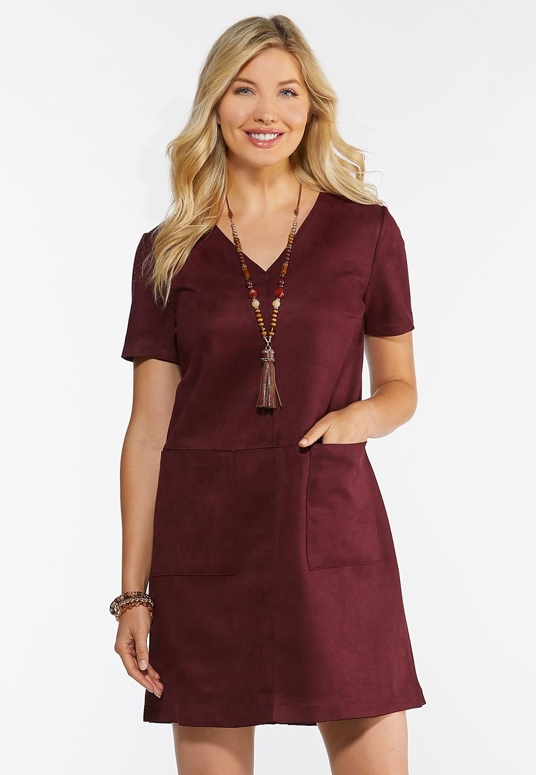 Plus Size Faux Suede Shift Dress (Item #44343461)