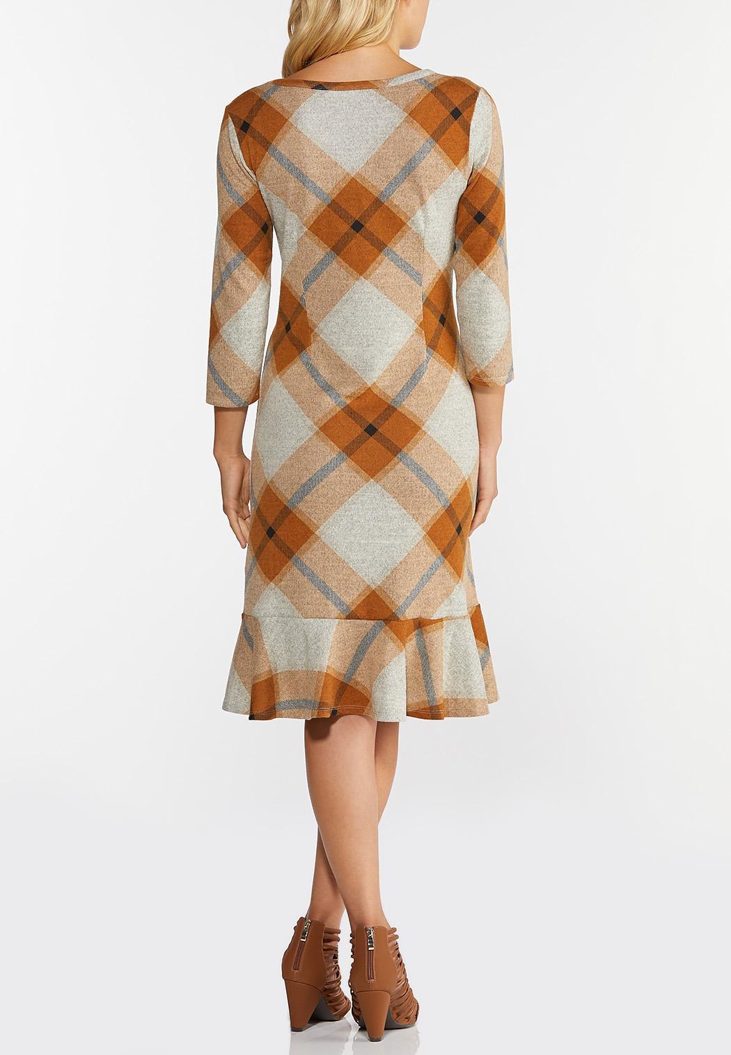 Plaid Flounced Hem Hacci Dress (Item #44343519)