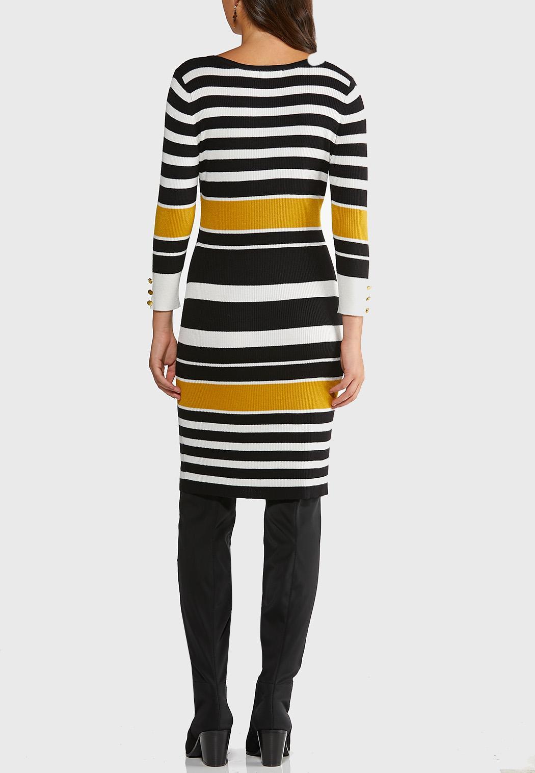 Plus Size Ribbed Striped Sweater Dress (Item #44343626)